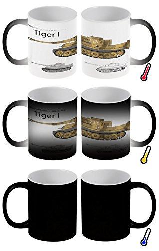 LEotiE SINCE 2004 Zaubertasse Farbwechseltasse Kaffeebecher Tasse Becher Latte Cappuccino Espresso Retro Motiv Tiger Panzer