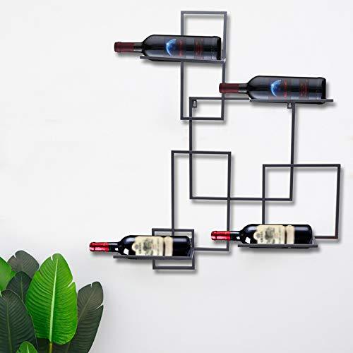 Kaibrite Botellero moderno y sencillo cuadrado de hierro forjado para botellas de vino, peso aprox. 20 kg (90 x 75 x 10 cm)