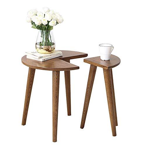 GAOLIM Mesa anidada de madera maciza nórdica sofá mesa auxiliar multifunción combinada pequeña mesa redonda esquina mesa de café casual