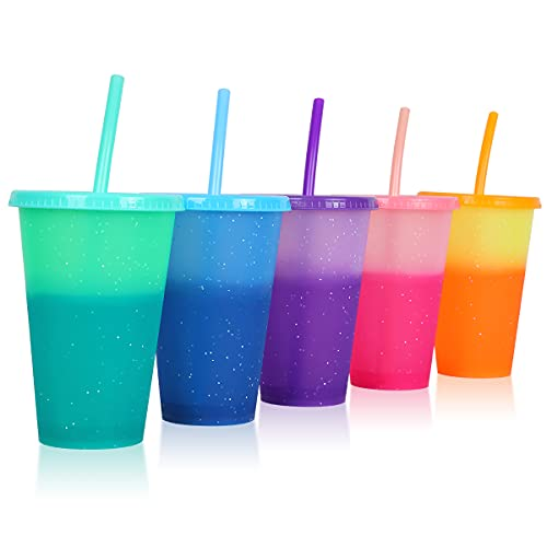 Plastic Tumblers with Lids & Straws 16oz - 5 Pack Reusable Party Drinking Cup BPA free Cold Coffee Tumbler | Color Changing Cups for Kids & Adults