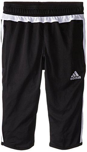 adidas Boys Performance Tiro 15 3/4 Pants, Black/White/Black, Small