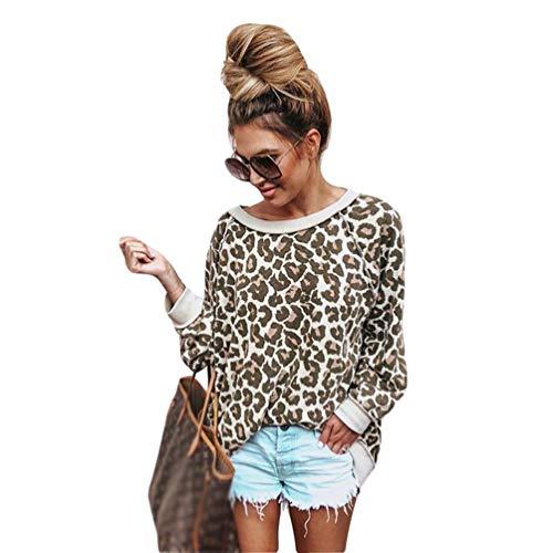 Tookang Damen Crew Hals Aus Der Schulter Langarm-Oberteil Leopard T-Shirt Mode Damen Bluse Jumper Leopard-Druck S