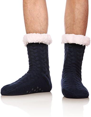 SDBING Mens Super Soft Warm Cozy Fuzzy Fleece lined Winter With Grips Slipper Socks Dark Blue product image