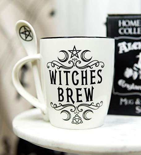 Ebros Wicca Sacred Moon - Set di tazze e cucchiaio in porcellana con manico integrato per poggia cucchiaio, 368,5 g