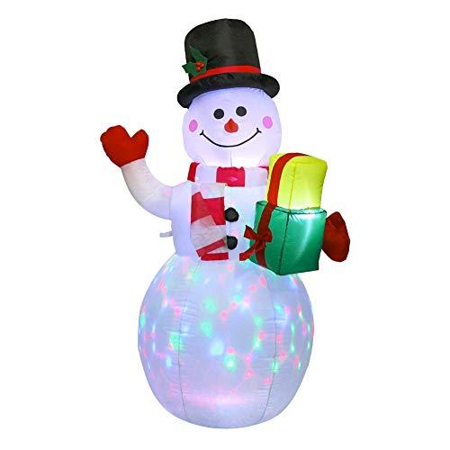 LouisaYork Aufblasbarer Schneemann, 1,5 m, mit Geschenken, rotierende LED-Lichter für Innen- und Außenbereich, Garten, Weihnachtsdekoration
