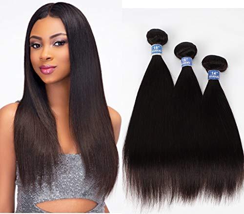 Brazilian Hair Straight 3 Bundles 100% Unprocessed Virgin hair Straight Human Hair Weave Bundles Natural Wave Natural Black Remy Hair for Women 14 16 18