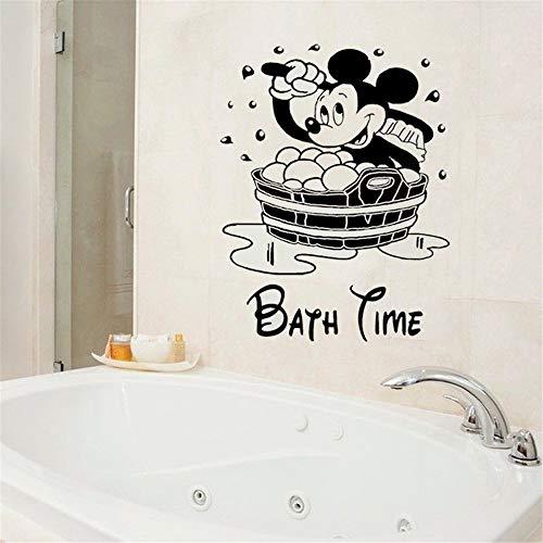 pegatina de pared frases Mickey Mouse Etiqueta de la pared calcomanía Mickey Mouse baño etiqueta de la pared calcomanías de vinilo para baño WC niños baño impermeable pared de la ventana