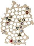 LAUBLUST Bierkarte aus Holz - Deutschland Karte - 44x33x0,6cm Natur - Kronkorken...