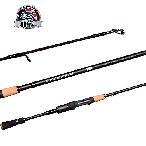 Cadence CR7 Spinning Rod, Fishing Rod with 40 Ton Carbon,Fuji Reel Seat,Durable Stainless Steel Guides with SiC Inserts,Full Assortment of Lengths, Actions for Spinning Reels