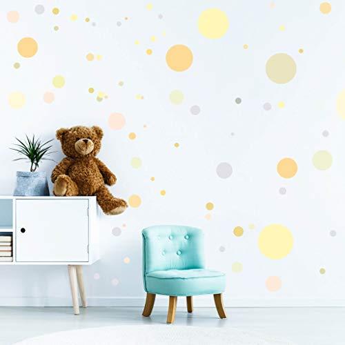 Wandtattoo Kinderzimmer 90 Punkte in zarten Pastellfarben Dekopunkte Kinderzimmer Wandsticker Aufkleber Set/Pastell-gelb