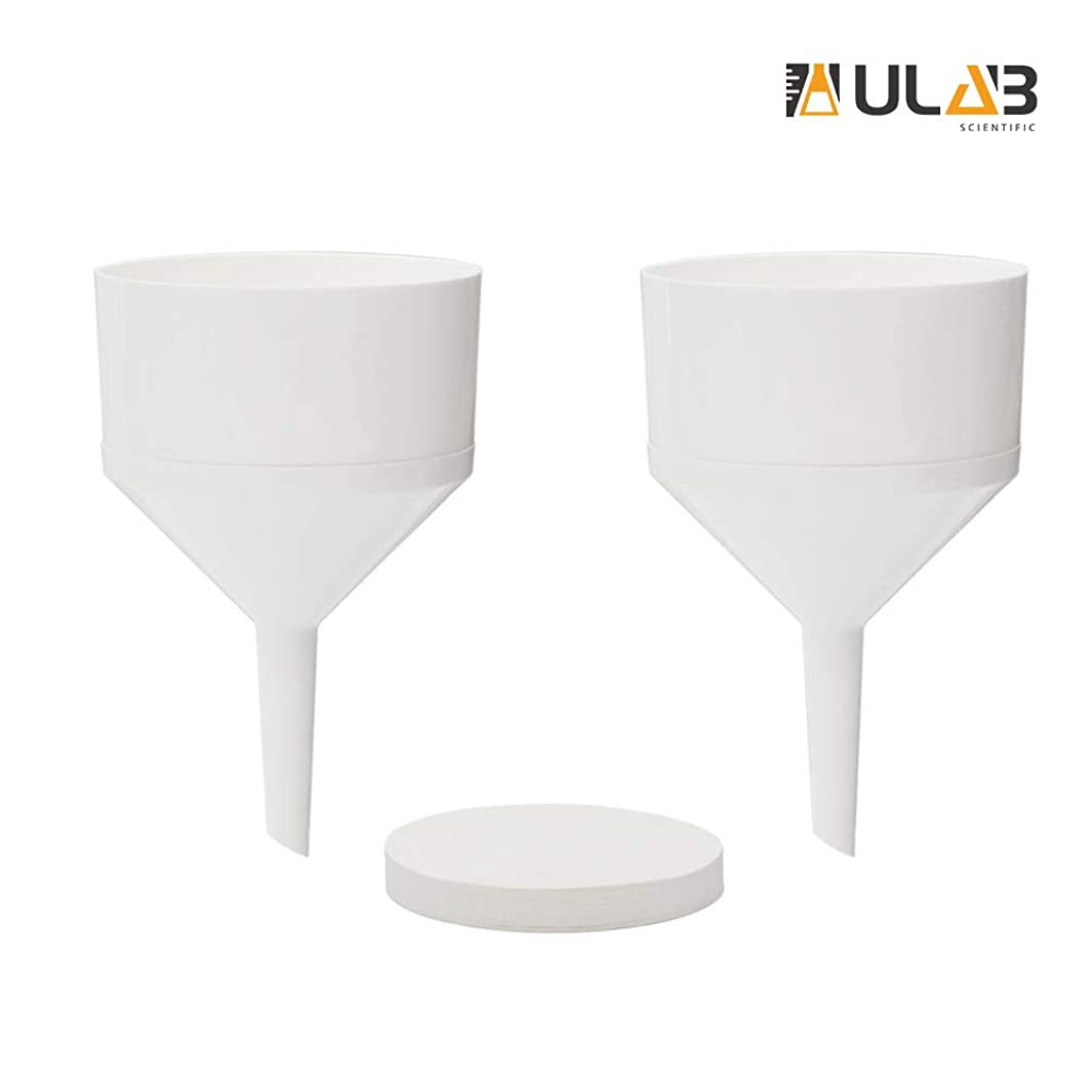 ULAB Scientific Buchner Two-Piece Funnel Set, 2pcs of Buchner funnels, Dia. 105mm, Plastic Material, 1 Box of Qualitative Filter Paper, Dia.90mm, Medium Speed, UGF1007
