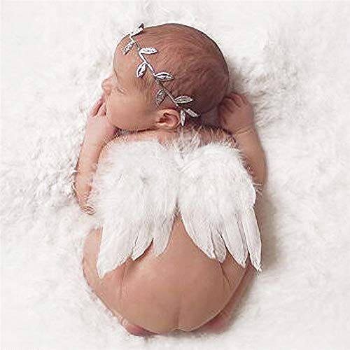 Swovo Baby Angel Wings Feather Angel Wings with Leave Headband Wool Blanket Newborn Photo Prop for Newborn 0-6 Months Infant Toddler Christmas Gift