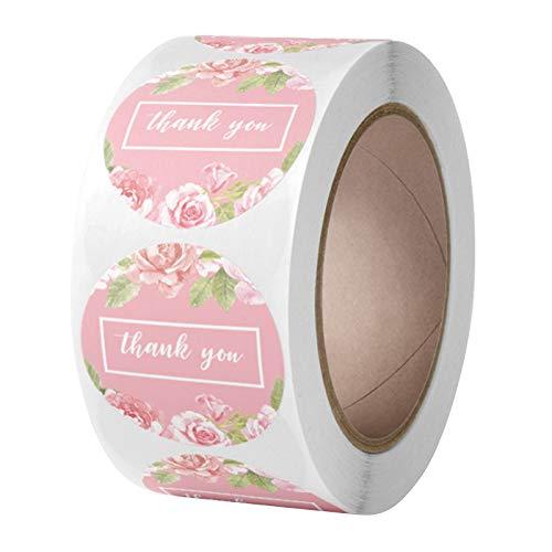 R1vceixowwi Rose Flower Danke - Pegatinas para embalaje de regalo, 500 etiquetas por rollo, para bolsas de regalo, bodas, día de Acción de Gracias, 1 pulgada