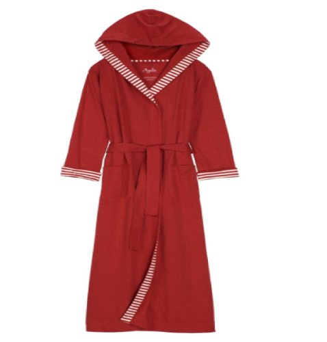 - Nine Space Jersey Knit Robe with Striped Trim, Cranberry, Large/XL