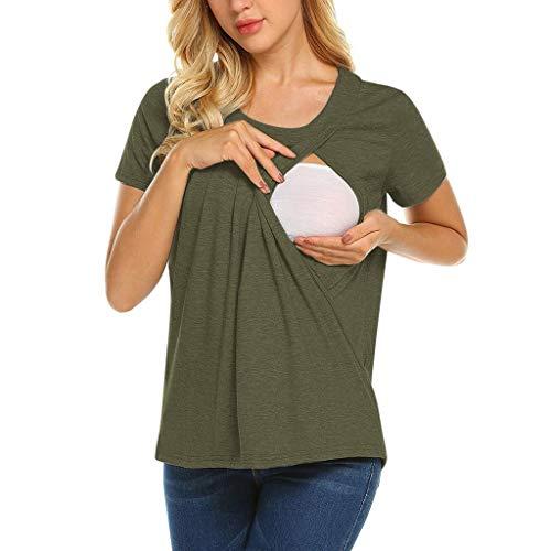 Double Couche Allaitement T-Shirt,Yesmile Vêtements Grossesse Et Maternité Mode Comfort Grossesse Tops (S, Vert armée)