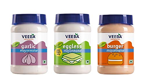 Veeba Mayonnaise Combo - Eggless Mayonnaise, 250gm with Garlic Mayonnaise, 250gm and Burger Mayonnaise 250gm - Pack of 3
