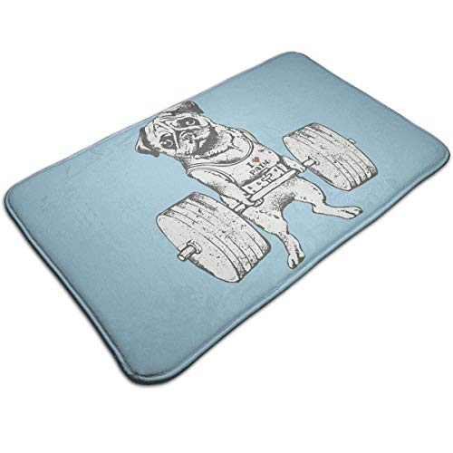 Bag shrots Family welcome doormat small non-slip carpet Indoor Carpet Doormats with Weightlifting Puppy, 19.5''Wx31.5''L