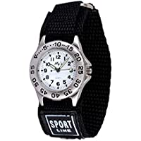 Wolfteeth Analog Quartz Boys Watch with Nylon Fast Wrap Watchband Bezel