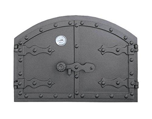 Backofentür Ofentür Pizzaofentür Holzbackofentür Steinbackofentür aus Gusseisen mit Thermometer | Außenmaße: 525x355 mm | Öffnungsrichtung: zweiflügelig