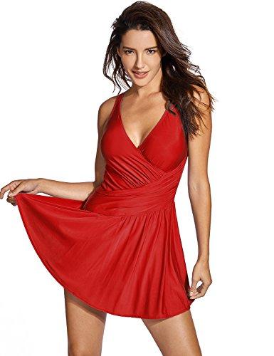 DELIMIRA Damen Badeanzug - ohne Bügel Große Größen Einteiler Badekleid Dunkelrot 42