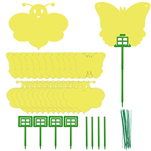 Geason 24 PCS Mückenfallen Doppelte gelbe Klebefallen in Schmetterlings- und Bienenform für...