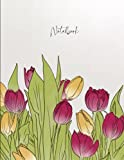 Beautiful Tulip Flowers Notebook: College Ruled 100 pages, 8.5