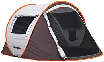 EchoSmile Camping Instant Tent, 2 to 8 Person Pop Up Tent, Water Resistant Dome Tent, Easy Setup for Camping Hiking and Outdoor, Portable Tent with Carry Bag, for 4 Seasons (White&Brown(2 Person))