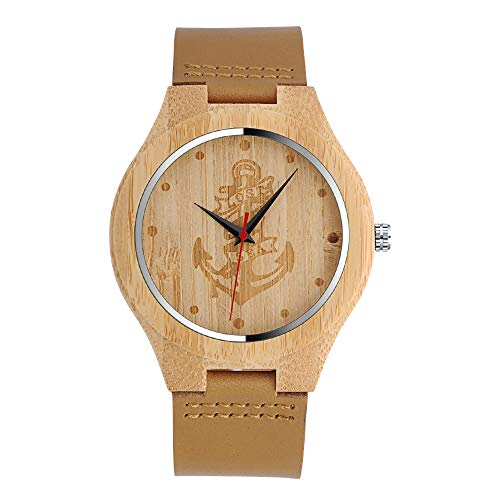 MICGIGI - Orologio da polso al quarzo, in legno di bambù, minimalista, con cinturino in vera pelle, per uomo/donna