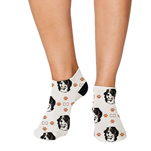 No Show Socks Bernese Mountain Dog Bones Paws Polyester Ankle Socks Women & Men Crazy Fun Socks 1 Size