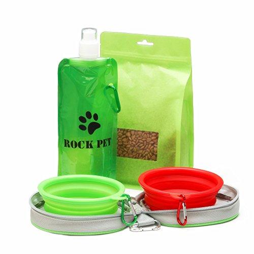 Kit di tazze pieghevoli da viaggio per cani e gatti di taglia piccola , - 2 ciotola del cane pieghevoli con borsa con cerniera bonus con clip a moschettone, Silicone Alimentare / Senza BPA