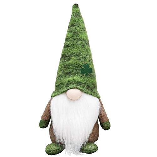 Wision Handmade Green Leprechauns Tomte Santa Gnome Elf Figurine Toy for St Patrick's Day and Christmas Decoration, 11-18In (Dark Green)