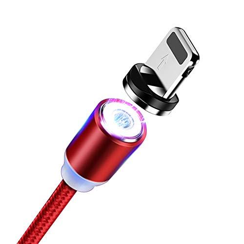 Hirkase Câble USB iPhone Magnétique, [2M] Câble USB C Aimanté Charge Rapide et Synchro Nylon Chargeur Magnétique iPhone pour Phone XR XS X Max 8 Plus 7 Plus 6 Plus 6s Plus 5 5s Se (Rouge)