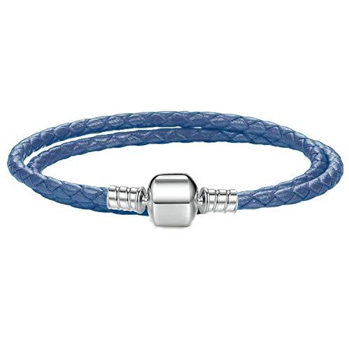 Charm Buddy 40cm / 20cm Womens Double Wrap Braided Leather Charm Bracelet with Gift Box (Navy Blue)
