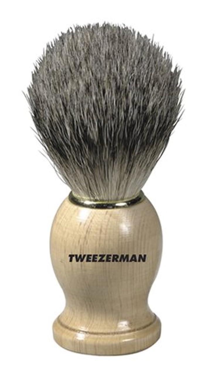 オーバーフロー間違っているオフTweezerman メンズ シェービングブラシ(100%アナグマの毛)