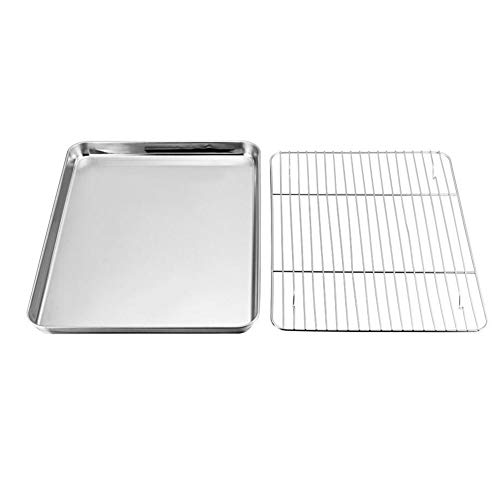 AmandaJ Mini bandeja de horno con juego de estantes, apto para lavavajillas, bandeja de horno de acero inoxidable para horno y bandeja de horno, No nulo, como se muestra en la imagen, 23x17x2.5cm