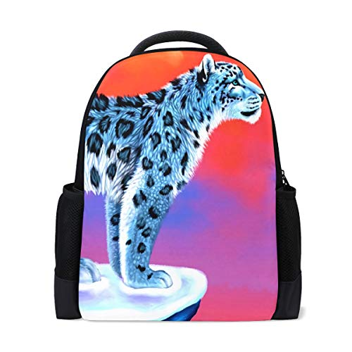 """Student Backpacks College School Book Bag Travel Hiking Camping Daypack for Boy for Girl   16.1""""x11""""x6""""   Holds 15.4-Inch Laptop(Leopard)"""