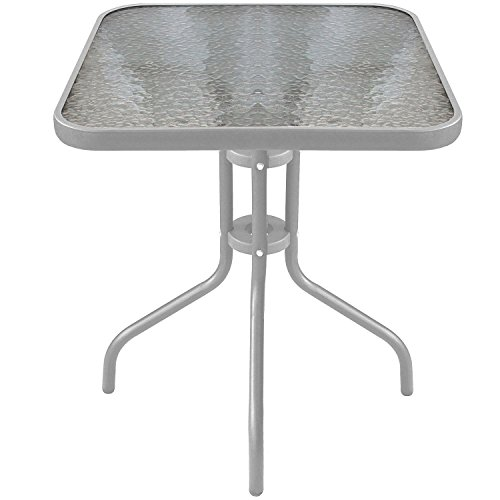 Multistore 2002 Glastisch 60x60x70cm Silber Balkontisch Gartentisch Bistrotisch Beistelltisch