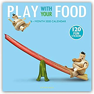 Graphique Play With Your Food Wall Calendar, 16-Month 2020 Wall Calendar with Fun Food-Based Photographs, 3 Languages & Major Holidays, 2020 Calendar, 12