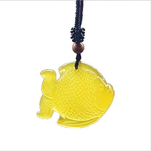 huangshuhua Collar Collar de pez de calcedonia Collar con Colgante Tallado a Mano Collar con Colgante de bendición de la Suerte Joyería Fina