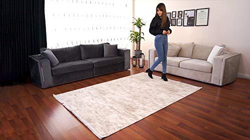 BESYILDIZ KALiTE HALI Designer Teppich Modern Wohnzimmer Esszimmer Schlafzimmer Bordüre Hochwertig Meliert Velours Dick Emboss Hellbeige