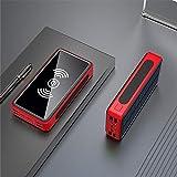 ポータブル電源銀行 80000mAhソーラーバッテリーパックワイヤレス電源銀行LEDライトPOWERBANK小米科技サムスンIPhone用ポータブル4USBの携帯電話の充電器 電子製品の充電に適しています (Color : Red)