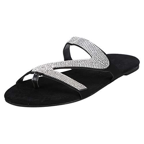 Damen Glitzer Flache Hausschuhe Casual Pailletten Pantoffeln Sequin Sandaletten Womens Fashion Roman Shoes Beach Sliders