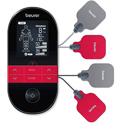 Beurer EM 59 Elettrostimolatore TENS EMS con Funzione Calore: Terapia del Dolore senza Farmaci e Rafforzamento Muscolare, con Batteria Ricaricabile