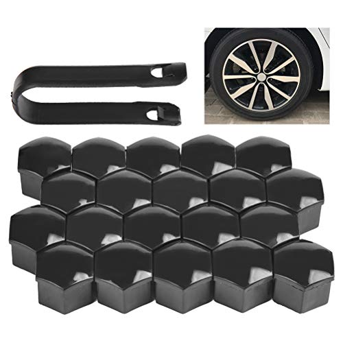 QLOUNI 20 Stück Radschraubenkappen 17mm Radmuttern Abdeckung Kunststoff Radmutter Kappen Schraubenkappen für Meisten Auto (schwarz)