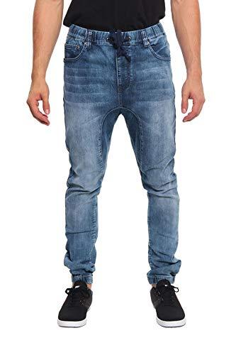 Victorious Mens Drop Crotch Joggers Denim Jean Pants JG803 - Dark Indigo - 2X-Large