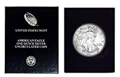 American Silver Eagle $1 Legal US Tender .999 Fine Silver Comes in Mint Air-Tite Plastic Holder and Blue Velvet Gift Box Now with our Certificate of Authenticity!