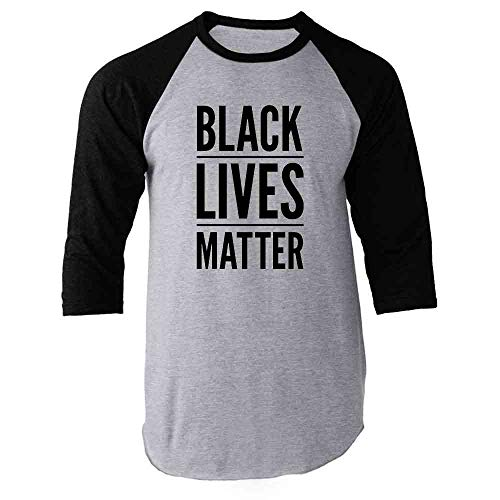 Black Lives Matter Black 2XL Raglan Baseball Tee Shirt