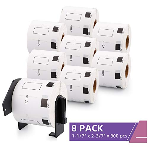 """Fimax Compatible Label Replacement for Brother DK-1209 Labels 1-1/7"""" x 2-3/7"""" (29mm x 62mm) to use with QL-700 QL-800 QL-810W Label Printers, 8 Rolls + 1 Reusable Frame, 800 Labels Per Roll"""