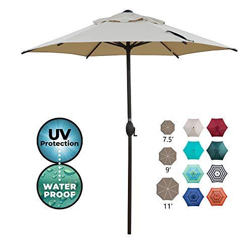 Abba Patio 7.5ft Patio Umbrella Outdoor Umbrella Patio Market Table Umbrella with Push Button Tilt and Crank for Garden, Lawn, Deck, Backyard & Pool, Cream
