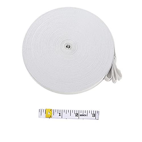 XINGSUI 10M gestricktes Gummiband, 2CM breites weißes flach gestricktes Gummiband, zum Nähen, Basteln im Haushalt, Kleidung, Gürtel, Tagesdecken